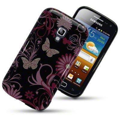 Samsung Galaxy Ace 2 / i8160 Case / Cover / Custodia / Skin TPU Gel - Disegno Fiori (nero con fiori rosa e viola)