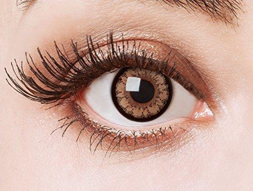 aricona Kontaktlinsen - Braune Kontaktlinsen farbig ohne Stärke - Farbige Kontaktlinsen Jahreslinsen braun mit Big Eyes Effect, 2 Stück