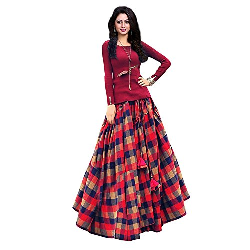 F Plus Fashion Womens Satin Lehenga Choli (Checks_Printed _Multi Coloured _Free Size)