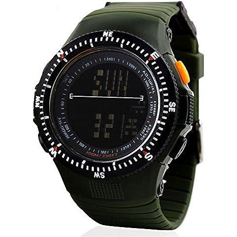 Yijia LED Digital Reloj Militar Exterior impermeable pulsera hombres mujeres relojes deportivos (Negro), color