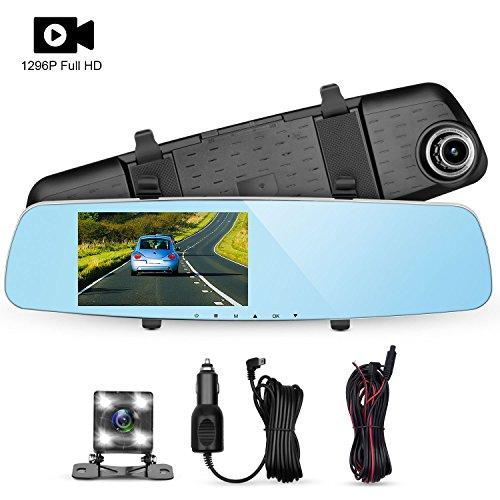 Panlelo D7 Dash Cam Car Driving Recorder 5' Dashboard Camera Car DVR Video Recorder 1296P 6 Layer Glass Built-in WDR Loop Recording G-Sensor with 4 LED Backup Camera Car Charger