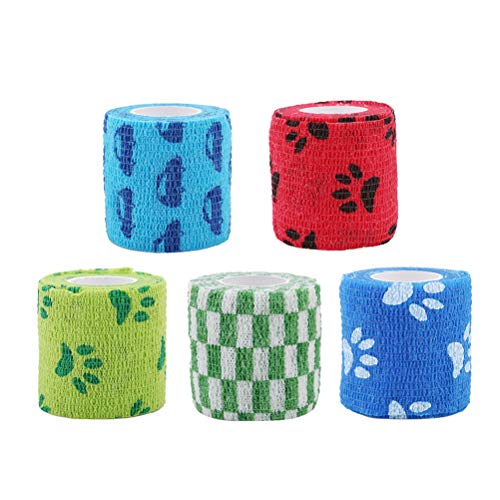 Balacoo 5pcs Vliesstoffe Haustiere Bandagen Kohäsive Bandagen Wraps Tierbinden (Mischfarbe) - Kohäsive Bandage Wrap