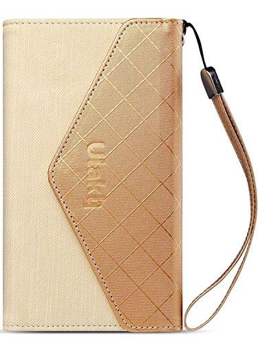 iPhone 6 Plus Lederhülle, ULAK Dünne PU Leder Tasche Schlag-Mappen-Kasten-Abdeckung mit Kreditkarten Steckplätze für Apple iPhone 6 Plus / 6s Plus 5.5 Zoll (Blau) Gold