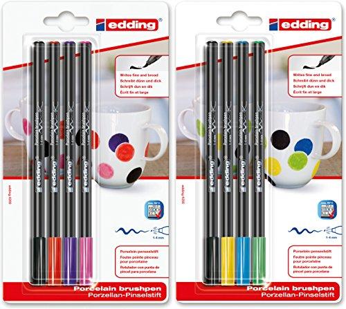 edding 4200 Porzellan-Pinselstift (auch für Glas und Keramik) - Standardfarben + Zusatzfarben (4+4) Porzellan-Brushpen zum Bemalen und Beschriften von Geschirr, Tassen und ofenfestem Glas