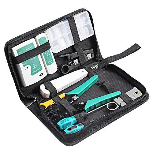 Tasquite 11 in 1 Professional Netzwerk Computer Wartung Reparatur-Tools Kit mit Reißverschluss Aufbewahrungskoffer (Color : Schwarz, Size : M) -