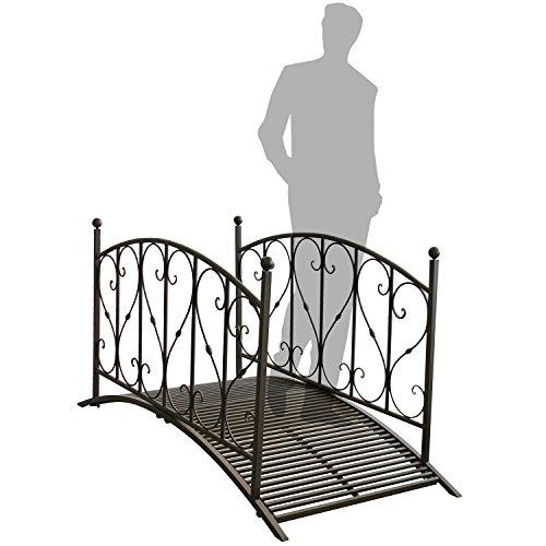 Gartenbrücke aus Metall mit Geländer
