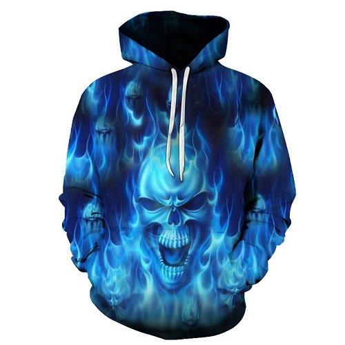 JOSENCL Mode vermummten Männer Frauen lustige Alternative Totenkopf Blaue Flamme Gedruckt Hoodies Sweatshirt Hochwertige Pullover Tops, WEIYI-235, M
