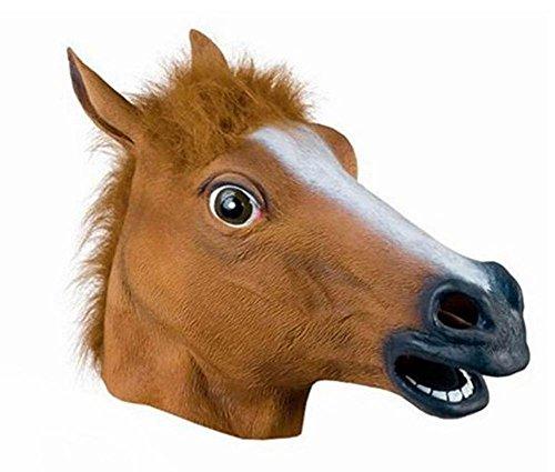 Hacoly Pferdekopf Maske Halloween Latex Pferdmaske Cosplay Realistisches Tiermaske Masken Pferd Totenkopf Maske Adult Kostüm Zubehör Weihnachten Party Dekoration
