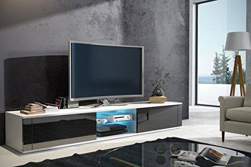 Elegant – TV-Lowboard / TV-Bank / Fernsehschrank (140 cm, Weiß Matt / Schwarz Hochglanz, LED in Blau)