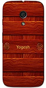 Aakrti Back cover With Wood design Printed For Smart Phone Model : Moto Z PLAY .Name Yogesh (God Of Yoga ) Will be replaced with Your desired Name