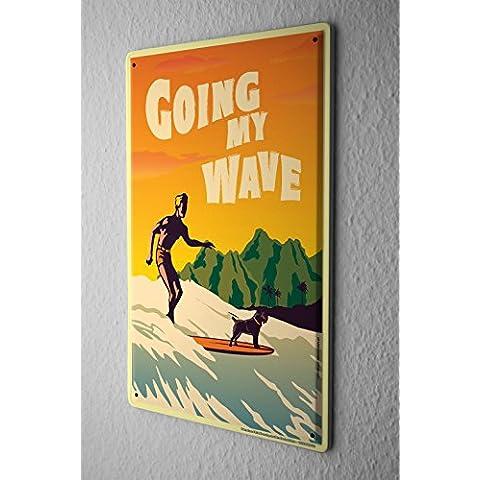 Nostalgico Cartello Targa In Metallo Piatto Di Parete Surfer sulla tavola da surf con un surfista cane Della Parete Piastra Insegna Metallica 20X30 cm