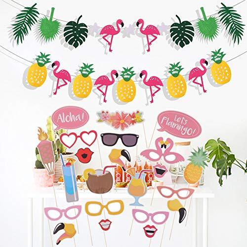 Wisolt 21Pcs Geburtstagsfeier Foto Requisiten mit Ananas und Flamingo Banner, Happy Birthday Dekorationen Party Supplies für Hawaiian Luau Beach Geburtstag Hochzeit Foto Hintergrund