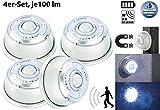 Lunartec Batterie Licht: LED-Nachtlicht mit Bewegungsmelder & Magnethalterung 4er-Set (LED-Sensorlichter)