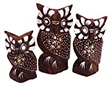 Générique Juego de 3 búhos de Madera Artesanal, diseño de búhos