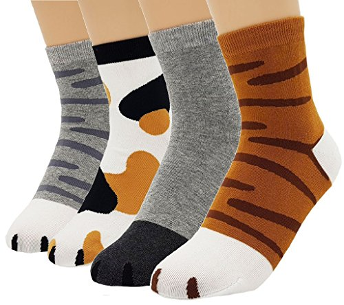 JJMax Women's Cute Kitty Cat Paws Socks with Paw Prints on Toes -
