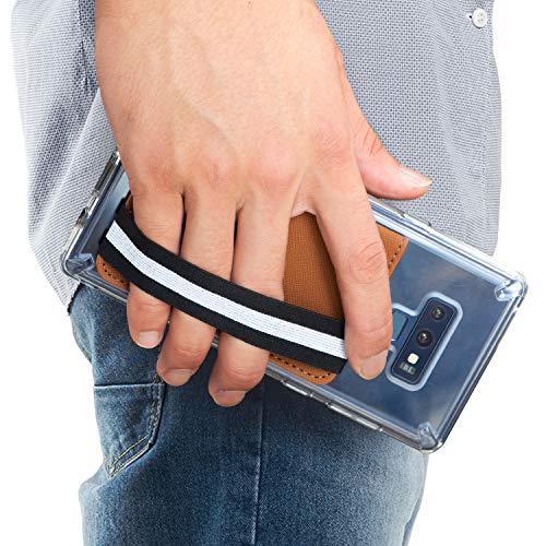 Ringke Flip Card Holder Kunstleder Saffiano Handy Kertenetui mit Gummiband [Caramel Brown] Kartenhülle für Galaxy Note 9, S8 Plus, S8, iPhone X, Xs Max, Xr, Huawei P20, Xperia, Pixel, LG, Xiaomi, Usw. Brown Handy Case