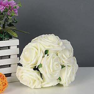 Soledì® 1 Bouquet Fiori Artificiali 10 Testine di Rose Decorazione per Casa Party Wedding Nozze Matrimonio 2 Colori da Scegliere (Bianco)