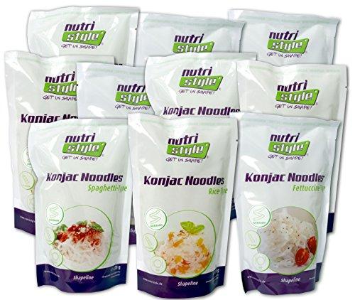 Preisvergleich Produktbild nutristyle Konjak Nudeln,  Mischkarton,  10 x 270g,  Pasta-Alternative mit nur 6 kcal,  ideal für eine kalorienarme Ernährung geeignet - Angebotspreis