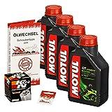 Ölwechselset Motul 5000 10W-40 Öl + K&N Chrom Ölfilter für VN 1500 Mean Streak, Bj. 02-03 (Typ VNT50P); Motoröl + Filter + Dichtring