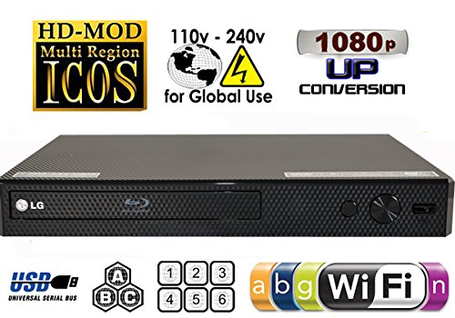 LG BP350 Blu-ray Player Wi-Fi MultiZone Region Code Free DVD 012345678 PAL/NTSC...