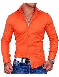 e4d1432e2716 MonsieurMode - Chemise Slim-fit Orange Chemise Homme 9002 - Orange