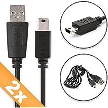 2x CELLONIC® Cable USB dato (1m) para Garmin Edge Touring, Edge 810 800, Edge 500, Drive 51, DriveAssist 50, DriveSmart 61, Nüvi 2699 Nüvi 2597, Oregon 600, Oregon 750, eTrex 30, eTrex Touch 35, Astro 320, Montana 610, GPSMAP 64, ForeTrex 401, Forerunner 205 305, Zumo 220, Zumo 340, Camper 770, Dakota 10 (Mini USB a USB A (Standard USB)) cable de carga negro