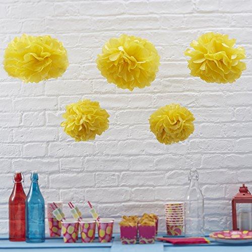 pitze Seidenpapier Pom Poms für Hochzeit und Party Dekorationen (5Pack) gelb (Party-shop Sf)