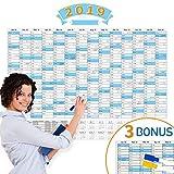 XL Wandkalender 2019 Abwischbar 84x59cm (großem A1) gefalzt mit Praktischer Marker, Jahresplaner 2019 fürs Büro oder für den Klassenraum - Wandplaner 14 Monate Nov 2018 - Dez 2019, FSC Papier