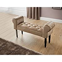 Stylish Diamante Buttons Damask Chaise Lounge Bench Decorative Sofa - Champagne