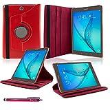 Samsung Galaxy Tab A 9.7 Funda, SAVFY® Giratoria 360 grados Stand PU Funda Flip Set ( con Auto Reposo / Activación Función ) + Paño de Limpieza + Protector de la Pantalla + Lápiz Optico para Samsung Galaxy Tab A 9.7 Pulgadas T550 - Rojo