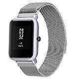 diadia Correa de reloj deportivo de acero inoxidable para Xiaomi Amazfit Bip Youth Watch, plata