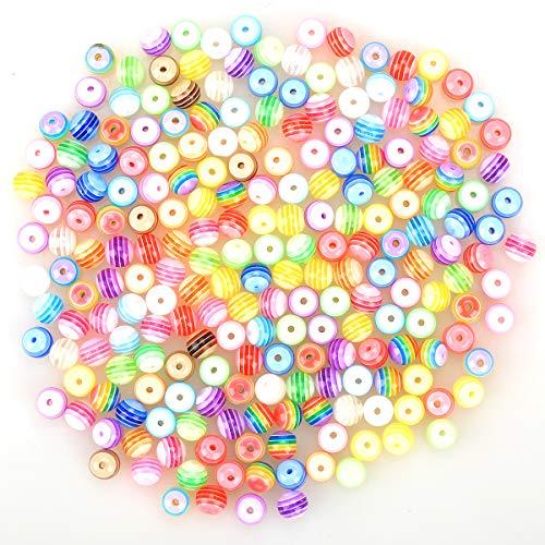 ZesNice 300 Stück Bunte Acryl Perlen Zum Auffädeln, Rund Perlen für Armbänder Schmuck Bastel, Geschenk für Kinder Mädchen(Perlen 8MM)
