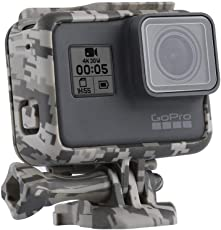 Action Pro Camouflage Protective Frame Mount Housing Camera Border with Quick Release Buckle and Screw for GoPro Hero 6 Hero 5 Accessory (Gray)