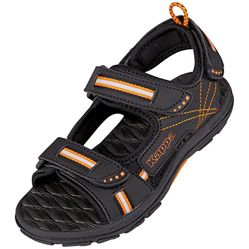 Kappa Unisex-Kinder Korfu Teens Sandalen, Schwarz (1144 Black/Orange), 37 EU