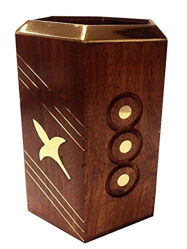 Preisvergleich Produktbild Rakhi Geschenk für Ihre Schöne Schwester Kunsthandwerk aus Holz Stifthalter , Blume Inlay Design Octal-Feder-Bleistift-Halter