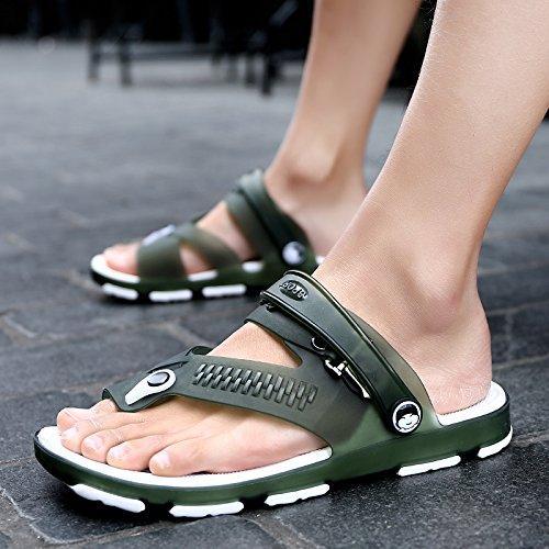 Chaussures de plage d'été pour hommes, Chaussons, Tongs toe, étudiant les sandales, chaussures pour hommes, chaussures de patinage semi 1703 green