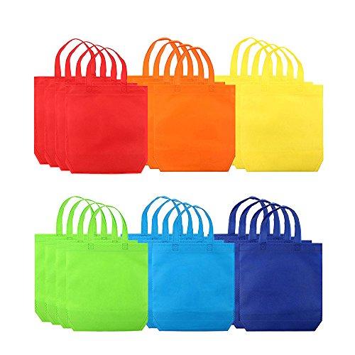 Yangyme Non-Woven Einkaufstaschen Non-Woven Tragetaschen Umweltfreundlich Wiederverwendbar für Party Geschenk Tote Taschen Erwachsene 25 x 30 cm 24 Packung 6 Farben