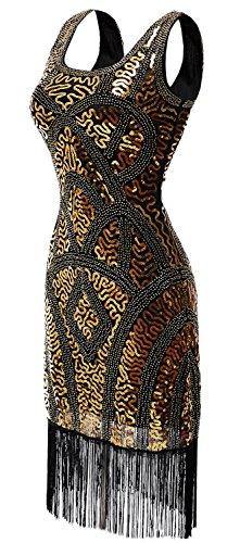 eforpretty 1920er Retro Stil inspiriert Pailletten-verziertes gefranstes Gatsby Flapper Kleid für Abschlussball (XL, Gold)