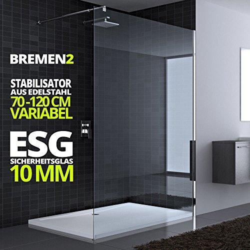 100x200 cm Luxus Duschwand aus Echtglas Bremen2K, Stabilisator rund, 10mm ESG Sicherheitsglas klarglas, inkl. Nanobeschichtung