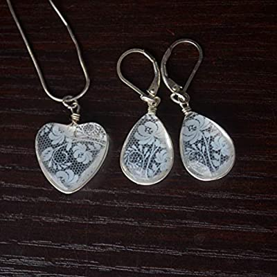 Limonium Statice Blanc Dentelle Fleur Demoiselle d'honneur Mariage Cœur Amour 925 Sterling Argent Ensembles de bijoux Collier Des boucles d'oreilles