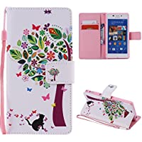 Casefirst Sony Xperia M2 Replacement Back Shell Protective Skin Double Layer Bumper Shell Shockproof Impact Defender Protective Case Replacement for Sony Xperia M2, Colorful Tree