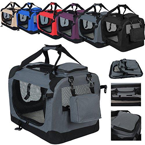 WOLTU HT2025gr Hundebox Hundetransportbox Auto Transportbox Reisebox Katzenbox mit Hundedecke faltbar 49,5x34,5x35cm, Grau