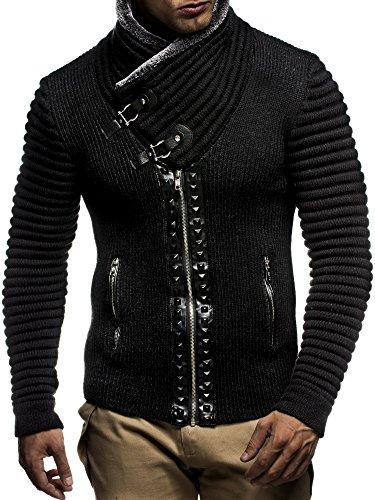LEIF NELSON Herren Strickjacke Jacke Pullover Hoodie mit Nieten Sweatshirt Biker-Style Gesteppt LN5165; Grš§e M, Schwarz-Anthrazit