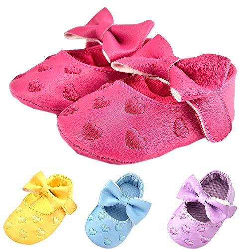 Yogogo Bowknot bébé Chaussures en Cuir PU Sneaker Antidérapant Chaussures Souples