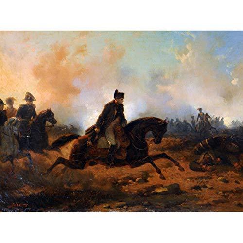 Bellange Napoleon Charging Battle Waterloo Painting Art Print Canvas Premium Wall Decor Poster Mural Schlacht Wasser Malerei Wand Deko