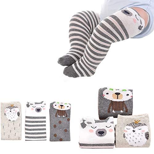 iKulilky Baby Lang Socken,Baumwolle Söckchen,Neugeborenes Kniestrümpfe für Jungen Mädchen Kinder,Klein Stricktechnik Unisex Flexibilität Söckchen 3 Paar für Winter (Bär) - S -