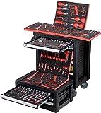 Small BlackRed BigBoy - 9 Schubladen / 7 gefüllt mit Werkzeug - Kombination Werkstattwagen und Werkzeugkiste