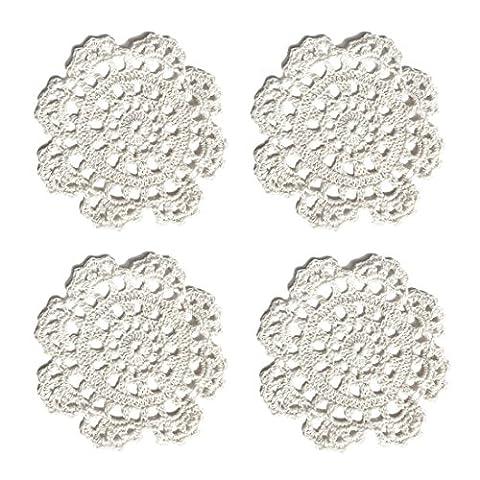 """Ambielly Petit Handmade Crochet ronde coton dentelle Tableau napperons Coasters napperons pour la Coupe / verre, 4pcs / Pack (13cm/5.1"""", Blanc)"""