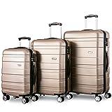 Zwillingsrollen Hartschalen Kofferset Reisekoffer 3 teilig Koffer Trolleyset mit Zahlenschloss, Flieks 3tlg. Gepäck-Sets mit 4 Doppel-Rollen, Set-XL-L-M(Champagner)
