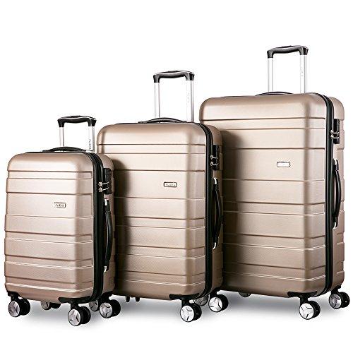 Zwillingsrollen Hartschalen Kofferset Reisekoffer 3 teilig Koffer Trolleyset mit Zahlenschloss, Flieks 3tlg. Gepäck-Sets mit 4 Doppel-Rollen,...